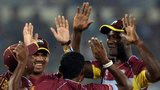 West Indies celebrate a Bangladesh wicket in Mirpur