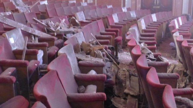 Collapsed ceiling in Apollo theatre