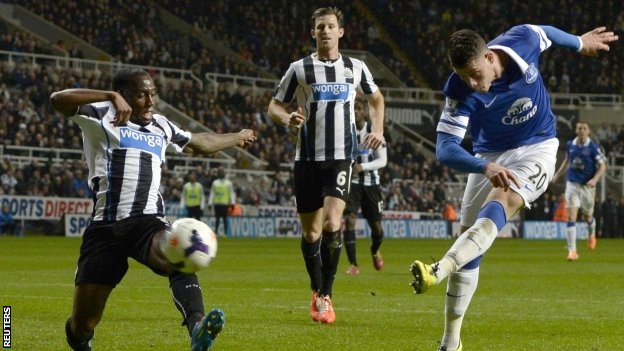 Everton's Ross Barkley opens the scoring at Newcastle