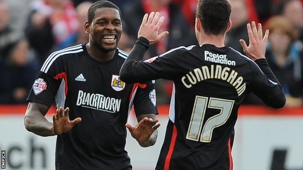 Jay Emmanuel-Thomas celebrates scoring for Bristol City