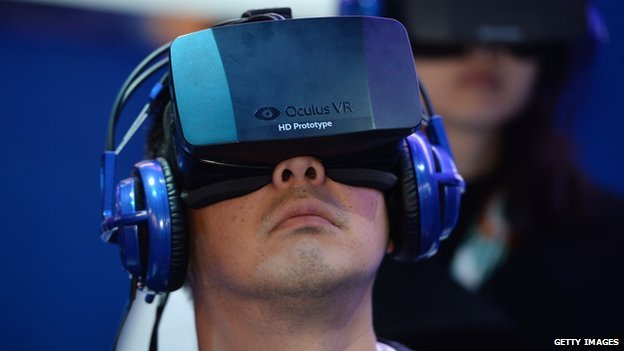 Man wearing Oculus Rift headset