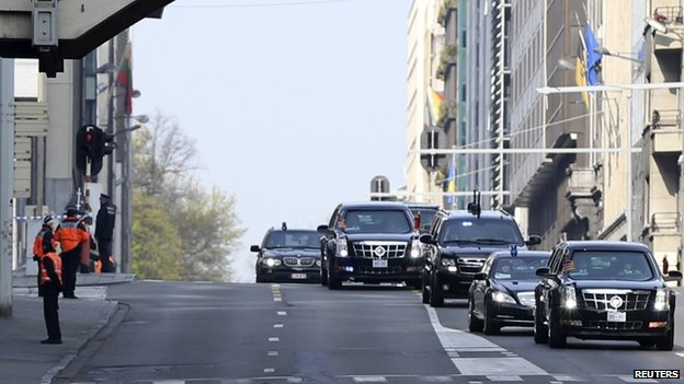 Motorcade of Barack Obama in Zaventem (26 March 2014)