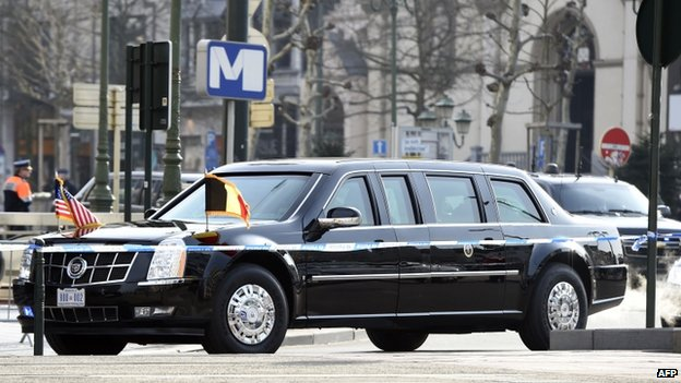 Barack Obama's presidential limousine in Brussels (26 March 2014)