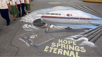 Mural featuring missing Malaysia Airlines flight MH370