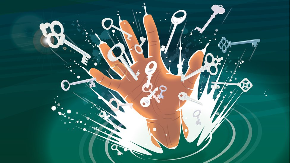 And a hand - the hero's hand - bursts from the water full of lots of different keys.