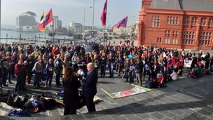 Teachers attending an NUT Cymru rally outside the Welsh Assembly in Cardiff Bay