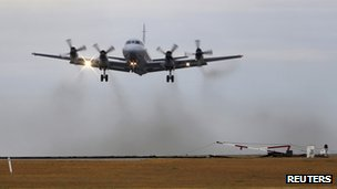 A Royal Australian Air Force (RAAF) AP-3C Orion takes off from RAAF base Pearce to search for Malaysian Airlines flight MH370 over the southern Indian Ocean, 26 March 2014