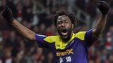 Bony moments after scoring against Arsenal