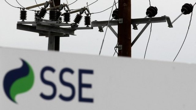 SSE sign in front of pylons