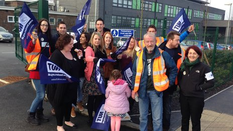 picket line in West Midlands region