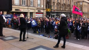 NUT rally, Grey's Monument, Newcastle