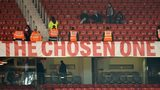 Banner reading The Chosen One at Old Trafford
