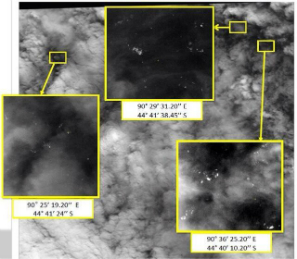 A satellite image of potential debris from flight MH370
