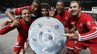 Bayern Munich celebrate the title