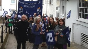 Teachers marching in Guildford