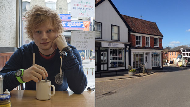 Ed Sheeran and the Framlingham St Elizabeth Hospice charity shop