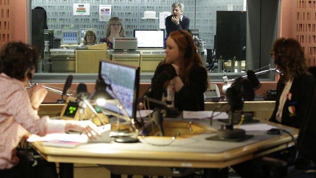 Pupils from Springwood High School in Kings Lynn in the radio studio