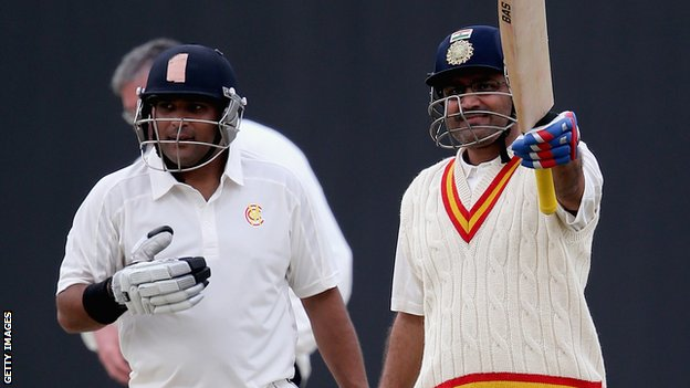 Virender Sehwag reaches his century against Durham