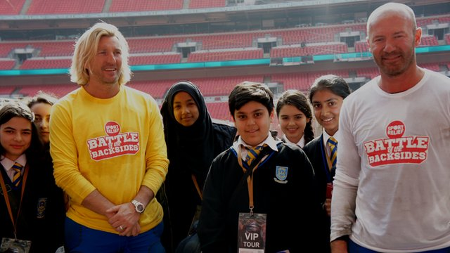 Robbie Savage and Alan Shearer at Wembley Stadium
