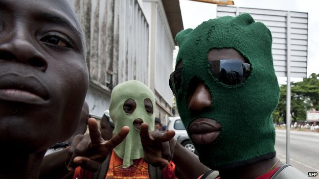 Militant supporters of Laurent Gbagbo in Abidjan, Ivory Coast, on 26 March 2011