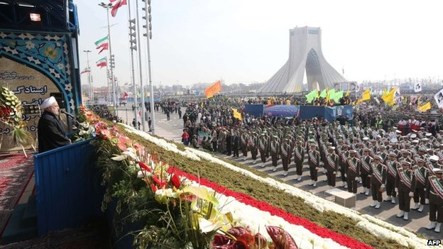 Iranian President Hassan Rouhani addresses security forces personnel in Tehran (11 February 2014)