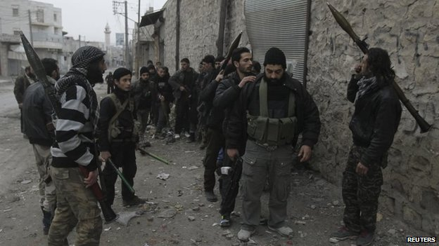 Syrian rebel fighters from the Islamic Front in Aleppo (22 January 2014)
