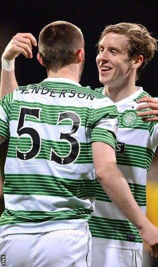 Liam Henderson and Stefan Johansen celebrate