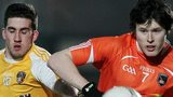 Antrim's Ryan Murray in action against Joe McElroy of Armagh