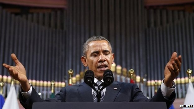 President Obama delivers speech in the Palais des Beaux-Arts in Brussels. 26 March 2014