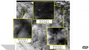 This handout photo shows imagery taken on 23 March 2014 by a French satellite showing more than 100 floating objects (within highlighted boxes) in the remote southern Indian Ocean