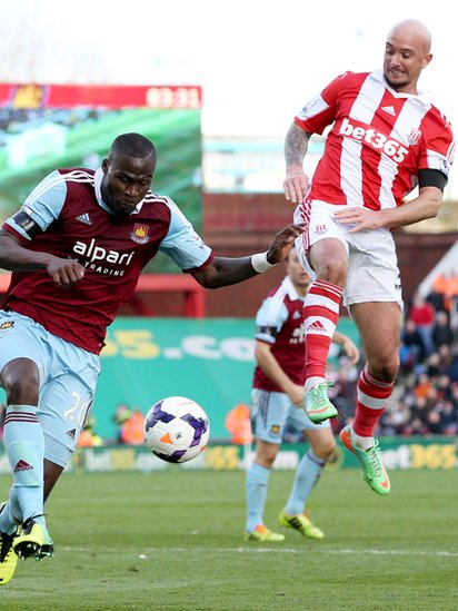Guy Demel of West Ham United battles with Stephen Ireland of Stoke City during the Barclays Premier League match between Stoke City and West Ham United