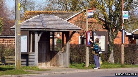 Bus stop by The Green near Grove by Steve Daniels