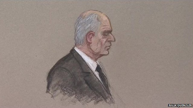 Artist's impression of Malcolm Fyfield in Swansea Crown Court