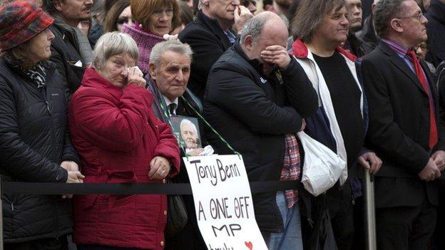 Well-wishers mourn Tony Benn