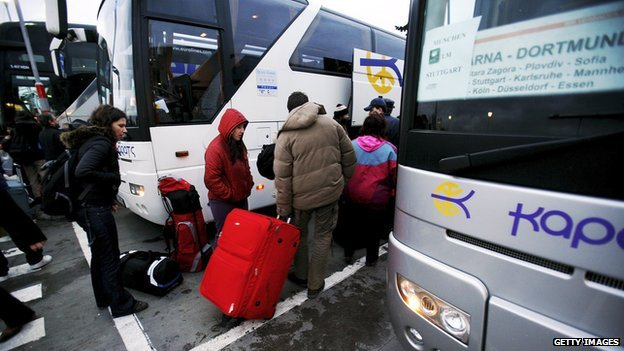 Bulgarians boarding bus destined for Berlin - file pic