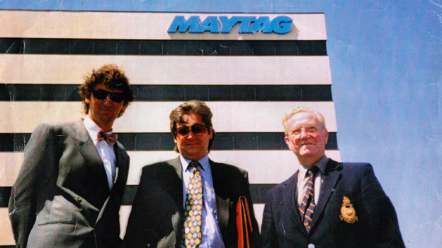 Lee Robertson, Harry Cichy, and Sandy Jack at Maytag HQ 1994