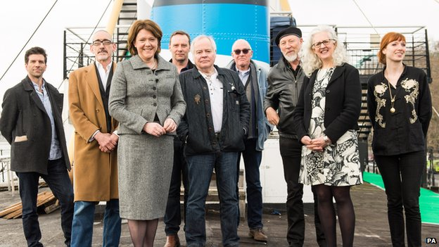William Trevitt, Neil Bartlett, Culture Secretary Maria Miller, Michael Nunn, Graham Gingles, Richard Wentworth, Richard Thompson, Kate Pullinger and Chloe Dewe Mathews on HMS President,