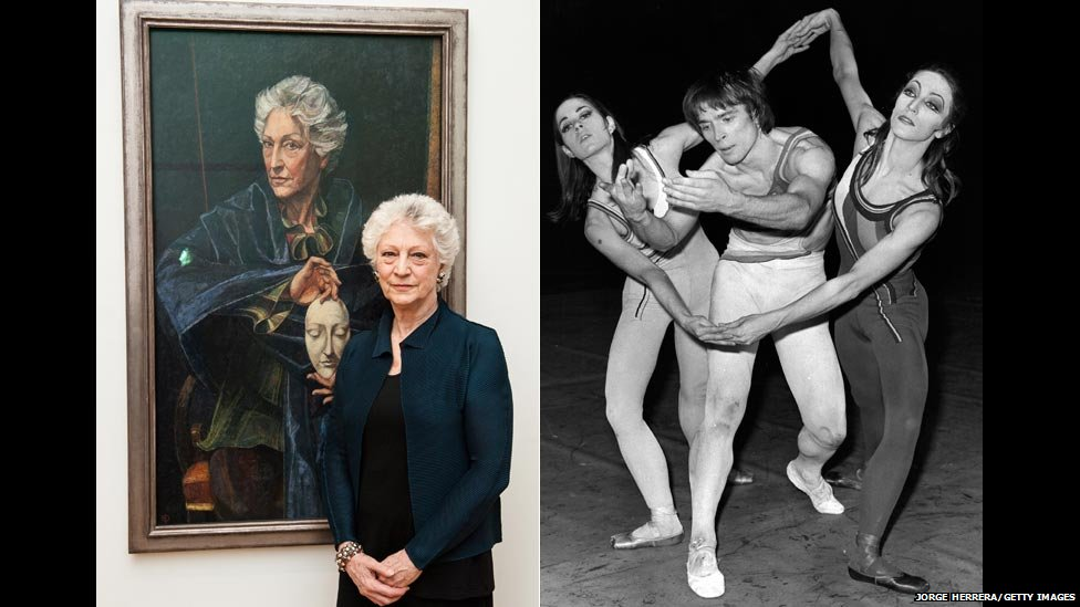Dame Monica Mason beside her new portrait and with Diana Vere and Rudolf Nureyev in 1970