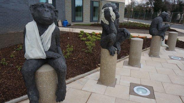 Sculptures outside hospital