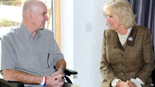 The Duchess of Cornwall with patient Ray Boyland