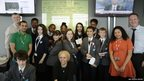 Group photo of students from Hackney New School with James Harding