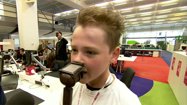 Pupils tried their hand at football commentating and weather presenting