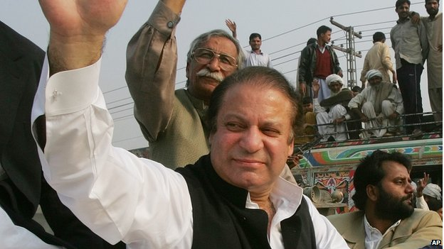 Former Pakistani Prime Minister Nawaz Sharif , left, waves to supporters from his car as his motorcade makes its way along a highway to a public meeting in Phoolnagar, Pakistan, Sunday, Dec. 2, 2007