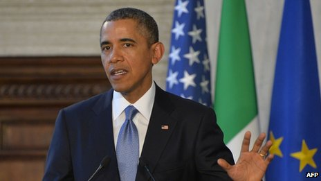 US President Barack Obama appeared in Rome, Italy, on 27 March 2014