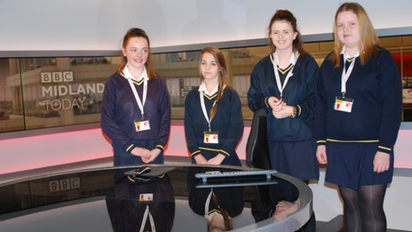 School Reporters from St Paul's School go behind the scenes at BBC Midlands Today.