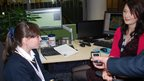 School Reporters from Pershore School interview weathergirl-for-the-day Lola and BBC Midlands Today's Rebecca Wood.