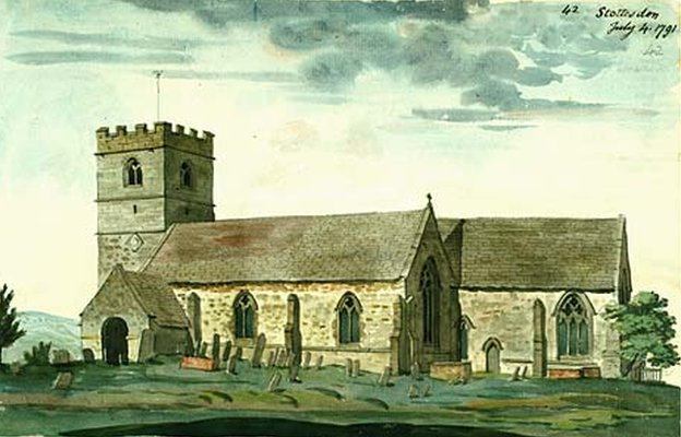Watercolour painting of St Mary's church in Stottesdon