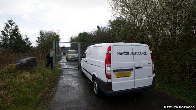 Private ambulance at Newport Wetlands site
