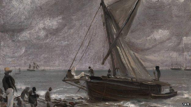 Beaching A Boat, Brighton, 1824, by John Constable