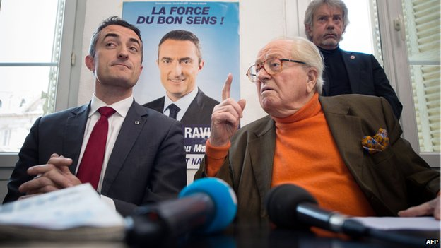 Marseille FN mayoral candidate Stephane Ravier (L) and party founder Jean-Marie Le Pen